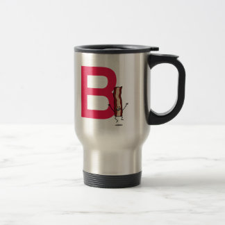 B is for Bacon happy jumping strip abc letter Travel Mug