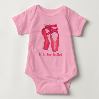 B is for Ballet Pink Pointe Toe Shoes Dancer Baby Bodysuit