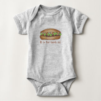 B is for Banh Mi Vietnamese Food Pork Sandwich Baby Bodysuit
