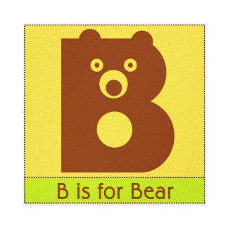 B is for Bear Alphabet Animal Art Gallery Wrap Canvas