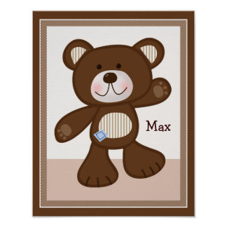 B is for Bear Teddy Bear Personalized Art Poster