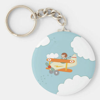 B is for Biplane Basic Round Button Key Ring