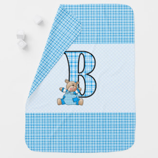 B is for Blue Bear and Little Boys in Plaid Receiving Blankets