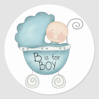 B is for Boy Blue Baby Buggy Classic Round Sticker