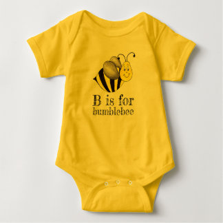 B is for Bumblebee Yellow Bumble Bee Insect Animal Baby Bodysuit