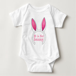 B is for Bunny Pink White Rabbit Ears Easter Cute Baby Bodysuit