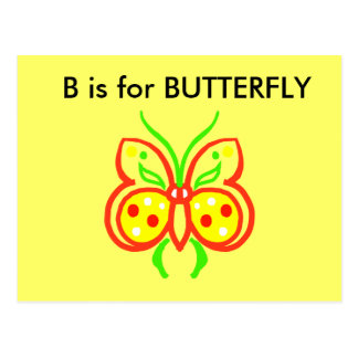 """B"" is for Butterfly Alphabet Flashcard Postcard"