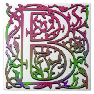 """B Monogram """"Besque Garden"""" Ceramic Tile"""