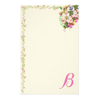 B Monogram Floral Bouquet Customized Stationery