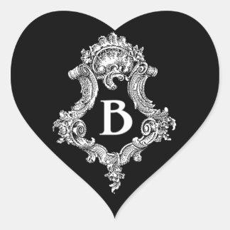 B Monogram Initial Heart Sticker