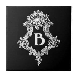 B Monogram Initial Small Square Tile