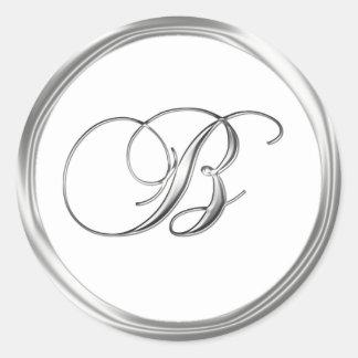 B Monogram Letter Sliver On White Wedding Seal Round Sticker