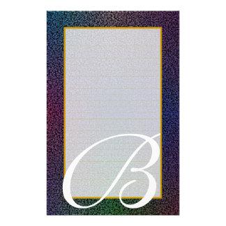"B Monogram ""Metallic Black"" Fine Lined Stationery Design"