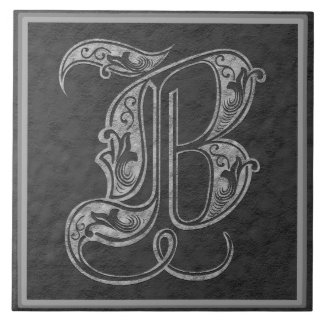 "B Monogram ""Royal Grey Stone"" Ceramic Tile"