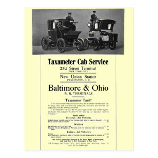 B+O Railroad Taxameter Cab Service 1908 Postcard