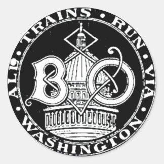 B+O Royal Blue Line Trains 1910 Round Sticker