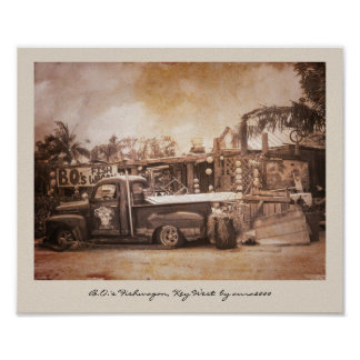 B.O.'s Fishwagon Key West Poster