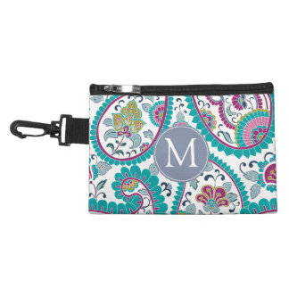 B Persian  Boteh Paisley Pattern Monogram Clip-on Accessory Bag