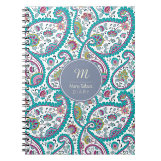 B Persian  Boteh Paisley Pattern Monogram Diary N Notebooks