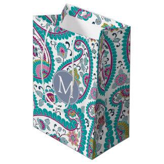 B Persian  Boteh Paisley Pattern Monogram M Gift B Medium Gift Bag
