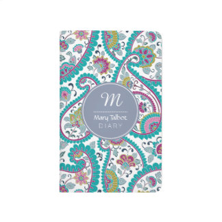 B Persian Boteh Paisley Pattern Monogram Pocket J Journal