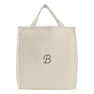 """B"" Rope Alphabet 2.5"" Embroidered Tote Bag"