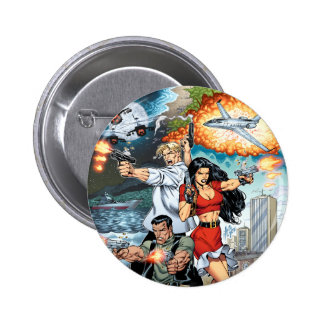 B stard Stew Action Comic Art by Al Rio Pinback Button