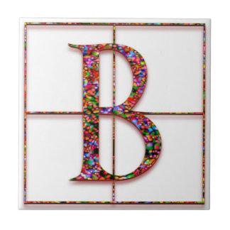 B Trajanus Red Custom Monogram Tile