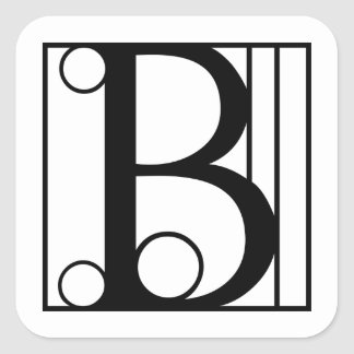 B - Typography Initial Square Sticker