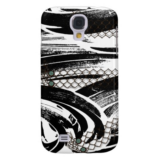 B&W Abstract with chicken wire patterns Samsung Galaxy S4 Cover