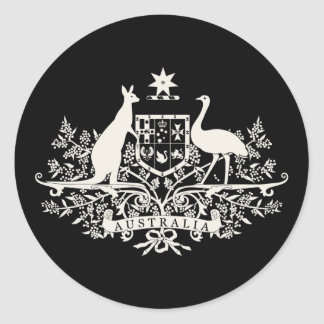 B/W Australia Coat Of Arms Classic Round Sticker