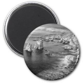 B&W beach coastline, California 6 Cm Round Magnet