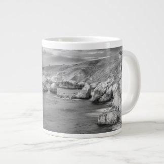B&W beach coastline, California Large Coffee Mug
