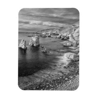 B&W beach coastline, California Rectangular Photo Magnet