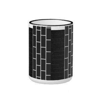 B&W Brick Wall Print Coffee Cup Ringer Mug