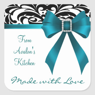 B&W Brocade Teal Bow Baking Stickers