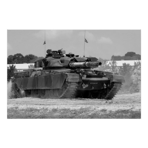 B/W Chieftain Tank Poster