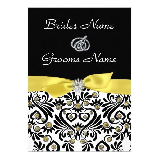 B & W Damask with Yellow Wedding Invitations