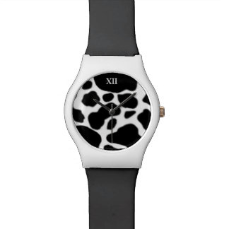 b&w farm animal cow skin watch
