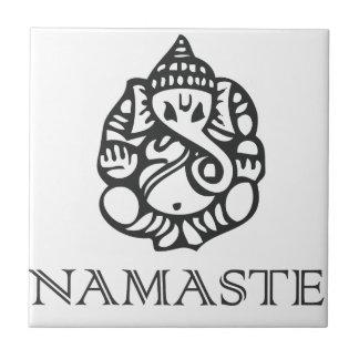 B/W Ganes Namaste Design Small Square Tile