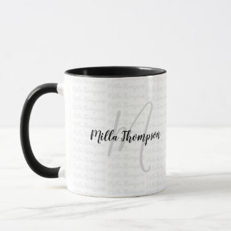 b/w handwritten name/initial . monogram . modern mug