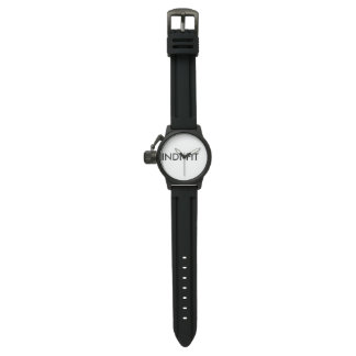 B/W LOGO CROWN PROTECTOR BLACK RUBBER STRAP WATCH