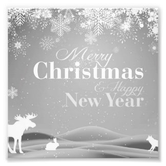 B&W Merry Christmas and Happy New Year Photo Art