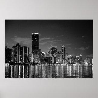 B&W Miami Skyline Poster