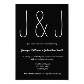 B&W monogram rehearsal dinner invitations