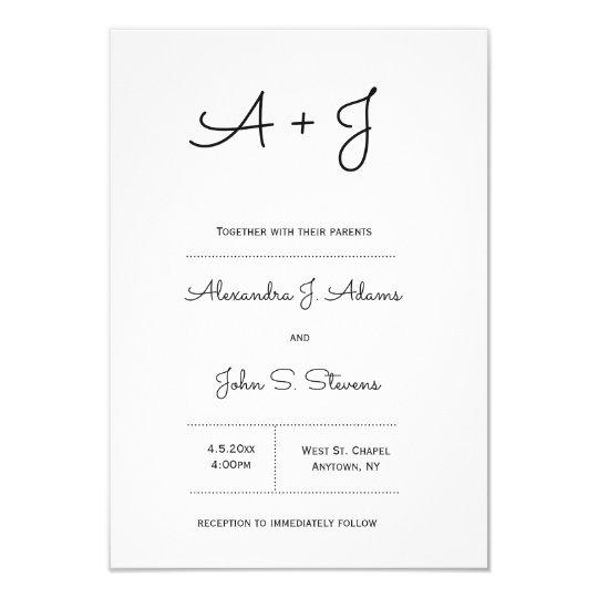 B&W monogram wedding invitations