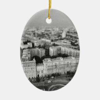 B&W Moscow skyline Ceramic Ornament