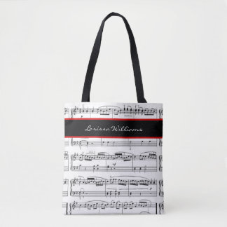 B/W music notes with name, custom Tote Bag