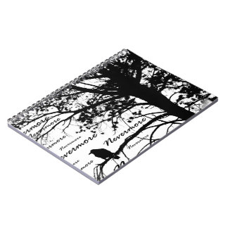 B&W Nevermore Raven Tree Silhouette - E.A. Poe Notebook
