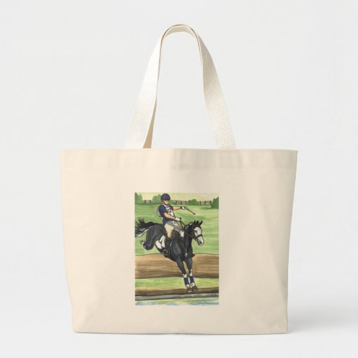 B&W Paint Horse XC into water Eventing Tote Bag